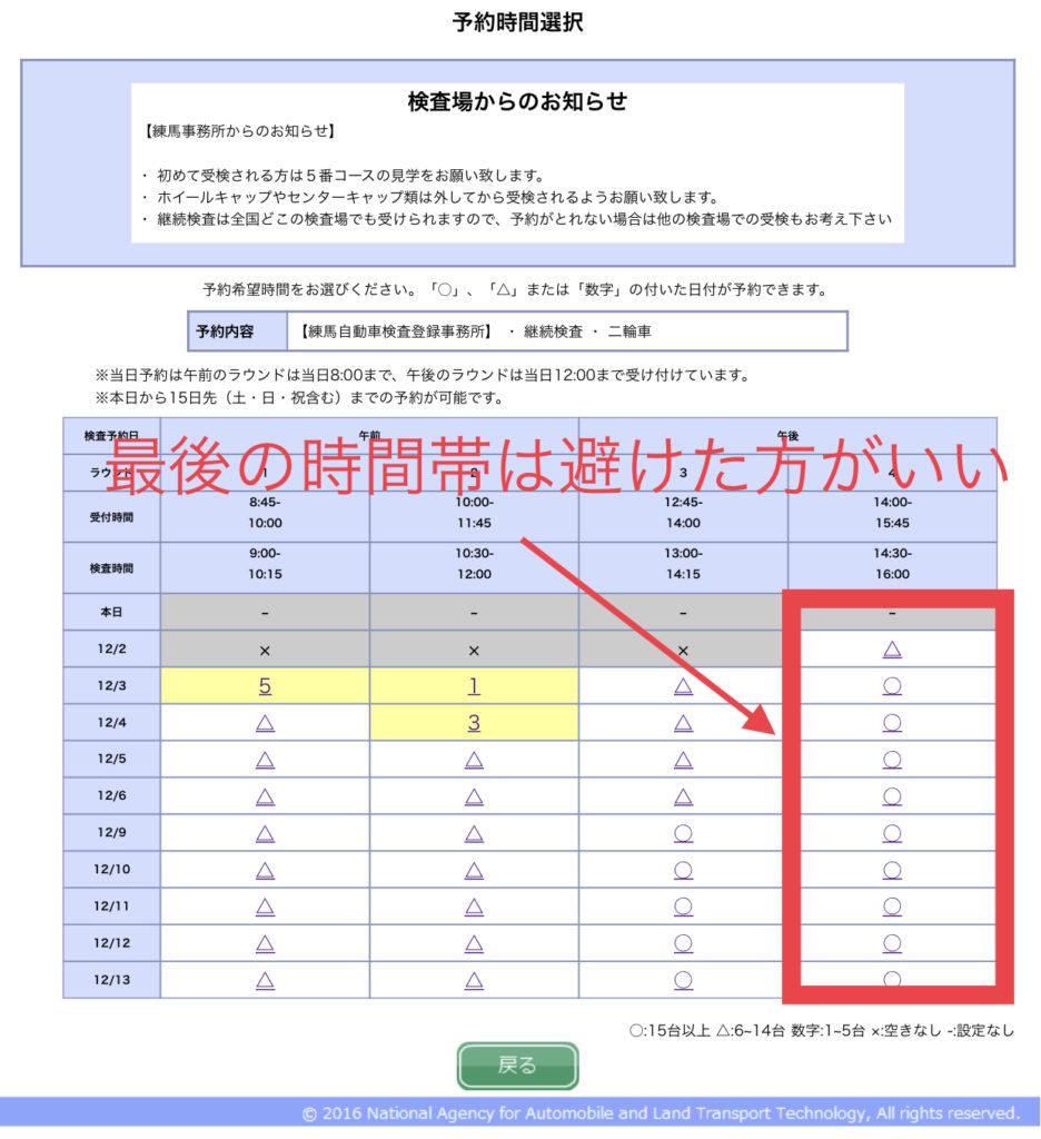 練馬車検予約システム時間帯