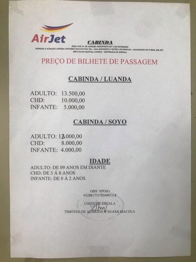 カビンダの飛行代金
