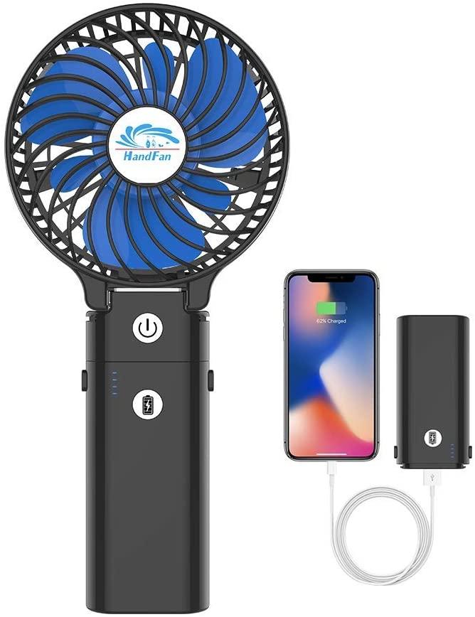 HandFan(黒色×青色)ポータブル扇風機